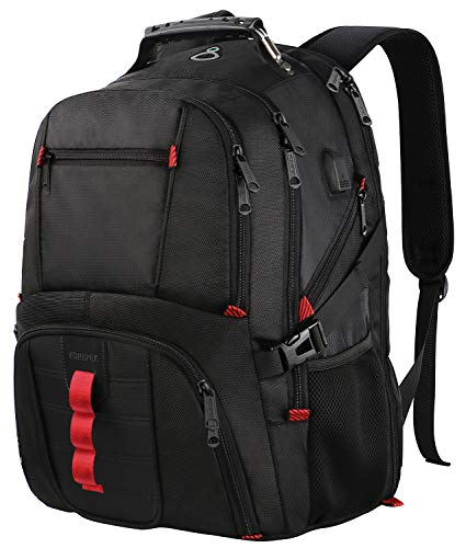 Extra Large Backpack,TSA Friendly Durable Travel Laptop Computer Backpack for Men Women with USB Charging Port,Water-Resistant Big Business College School Bookbag Fits 17 Inch Laptops,Black