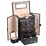 Homde 2 in 1 Huge Jewelry Box/Organizer/Case with Small Travel Case, Gift for Girls or Women (Black)