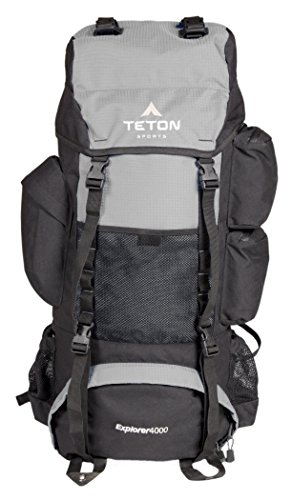 TETON Sports Explorer 4000 Internal Frame Backpack; High-Performance Backpack for Backpacking, Hiking, Camping; Metallic Silver