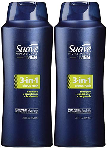 Suave Men 3 in 1 Shampoo Conditioner and Body Wash Citrus Rush 28 oz(Pack of 2)