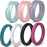 Rinfit Silicone Wedding Rings for Women 3 or 6 Ring Pack - Designed, Rubber Rings. Unique Set of Thin and Stackable Wedding Bands for Women. U.S. Design Patent Pending (7, Set #3)