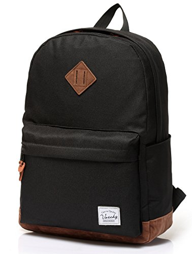 Backpack for Men,Vaschy Unisex Classic Lightweight Water-resistant College School Travel Backpack Bookbag Black Fits 15.6inch Laptop