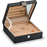 Glenor Co Ring Box Organizer - 54 Slot Classic Jewelry Display Case Holder - Storage Tray with Modern Buckle Closure, Large Mirror - Holds Rings and Cufflinks - Small for Travel - PU Leather - Black