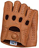 Riparo Mens Leather Reverse Stitched Fingerless Half-Finger Driving Motorcycle Gloves (Medium, Cognac)