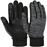 VBG VBIGER Winter Gloves Touch Screen Driving Gloves Anti-slip Cycling Gloves Warm Fleece Gloves for Men Women (Small, Black/Grey)