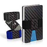 FIDELO Carbon Fiber Minimalist Wallet - Slim RFID Credit Card Holder Money Clip for Men