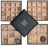 Glenor Co Earring Organizer Tray - 4 Stackable Trays Lid -45 Slot Classic Jewelry Storage Display Case Drawer Dresser - Holder Earring Ring Necklace Cufflinks - Large Mirror - Black