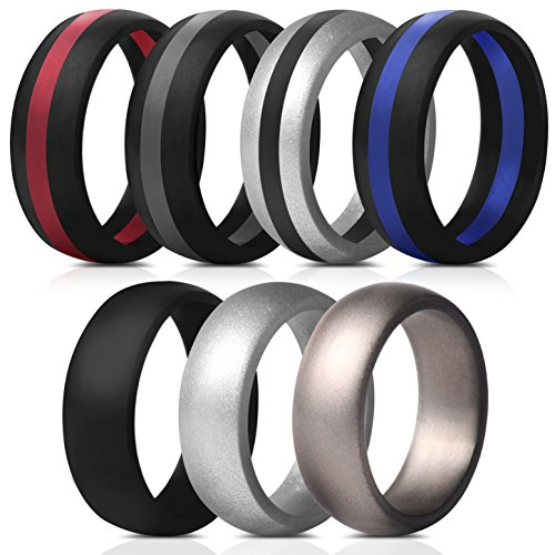 Saco Band Mens Silicone Rings Wedding Bands - 7 Pack (Middle Line Blue Red Black Gray, Silver, Dark Silver, Black, 8.5-9 (18.9mm))