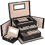 SONGMICS Jewelry Box, Girls Jewelry Organizer, Mini Travel Case, Mirror, Watch Organizer, Lockable, Black UJBC121B
