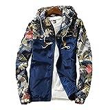 Amcupider Men's Contrast Zip Front-Zip Jacket Small Dark Blue
