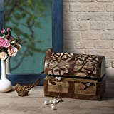 storeindya Gifts for Women Handmade Wooden Jewelry Box Chest Two Drawers Brass knobs Jewelry Boxes Trinket Keepsake Jewellery Storage Box Girls Multipurpose Organizer Chest (Design 6)