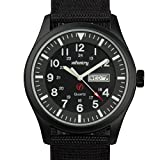 INFANTRY Mens Military Army Analog Watch Field Tactical Sport Wrist Watches for Men Black Nylon Strap Day Date