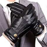 WARMEN Mens Touchscreen Texting Winter PU Faux Leather Gloves Driving Long Fleece Lining Black - Wool/Cashmere Blend Cuff (9, Black (Touchscreen))