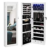 SONGMICS 6 LEDs Mirror Jewelry Cabinet Lockable Wall/Door Mounted Jewelry Armoire Organizer with Mirror 2 Drawers White UJJC93W