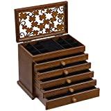 SONGMICS Large Jewelry Organizer Wooden Storage Box 6 Layers Case with 5 Drawers Gift for Mom, Dark Brown UJOW56W