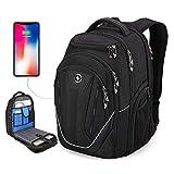 TSA Friendly, Swissdigital Water-Resistant Large Backpack, Business Laptop Backpack for Men with USB Charging Port/RFID Protection Big School Bookbag Fits 15.6 in Travel Laptop Backpack [Black] (A)