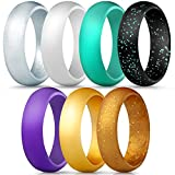 ThunderFit Silicone Rings, 7 Pack Wedding Bands for Women - 5.5 mm Wide (Black Gold Glitter, Teal Purple White Gold Silver, 6.5-7 (17.3mm))