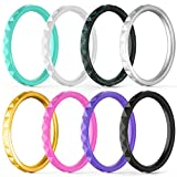 ThunderFit Thin and Stackable Silicone Rings, 8 Pack - Silicone Wedding Bands for Women - Diamond Pattern