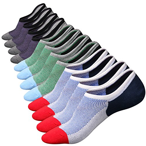 M&Z Mens Cotton Low Cut No Show Casual Ventilation Fresh Super Comfy Non-Slip Socks.