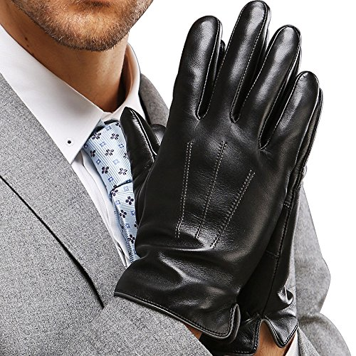 Harrms Best Touchscreen Nappa Genuine Leather Gloves for men's Texting Driving (M-8.5'(US Standard Size), BLACK)