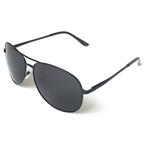 J+S Premium Military Style Classic Aviator Sunglasses, Polarized, 100% UV protection