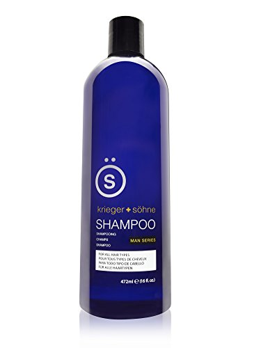 Shampoo for Mens Hair - Contains Invigorating Tea Tree Oil - Krieger + Söhne Man Series - For All Hair Types - Exploit Your Style - 16 Ounce Bottle (16oz (Single 16oz Bottle))