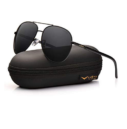 LUENX Aviator Sunglasses Polarized Non-Mirrored Men Women with Accessories- Black Metal Frame UV 400 Protection Driving Fashion