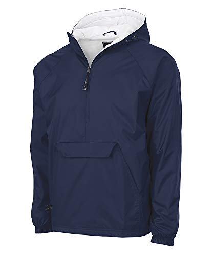 Charles River Apparel Wind & Water-Resistant Pullover Rain Jacket (Reg/Ext Sizes), Navy, XL