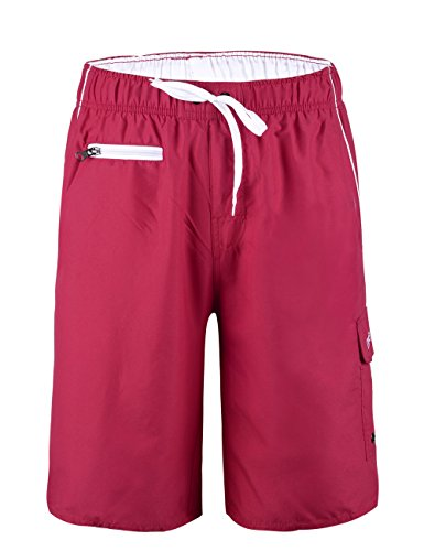 Nonwe Men's Beachwear Swim Trunk Quick Dry Zipper Pockets with Mesh Lining Red 34