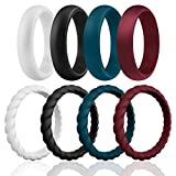 ROQ Silicone Wedding Ring for Women, Affordable Braided Stackable Silicone Rubber Wedding Bands - Medical Grade Silicone - Bordeaux, Navy Blue, White, Black Colors - Size 6