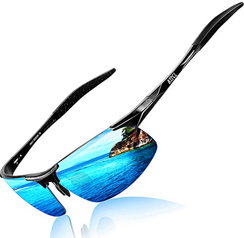 ATTCL Men's HOT Fashion Driving Polarized Sunglasses for Men Al-Mg metal Frame 8177BLACK-BLUE