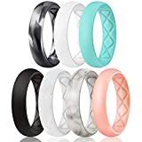 Egnaro Inner Arc Ergonomic Breathable Design, Silicone Rings for Women with half sizes, Women's Silicone Wedding Band,5.5mm Wide-2mm Thick