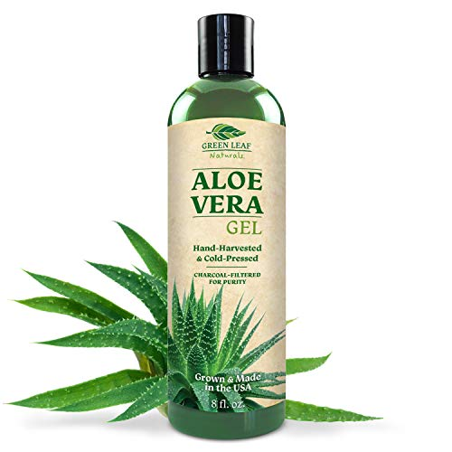 Pure Aloe Vera Gel from Freshly Cut Aloe Leaves for Natural Skin Care - Thin Aloe Gel Formula for Skin, Face, Hair, Daily Moisturizer, Aftershave Lotion, Sunburn Relief, Burn Care - 8 ounce