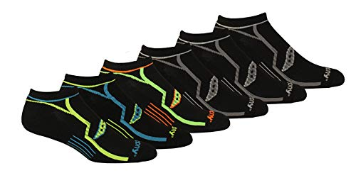 Saucony Men's Multi-Pack Bolt Performance Comfort Fit No-Show Socks, Black (6 Pairs), Shoe Size: 8-12