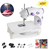 Mini Electric Sewing Machine Portable Electric Adjustable 2 Speed Crafting Thread Sewing Machine with Foot Pedal,Needle Protector Perfect for Beginner (Sewing Machine + Extension Table + Thread)