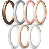 ThunderFit Women's Thin and Stackable Silicone Rings Wedding Bands - 7 Pack (Bronze, White, Rose Gold, Silver, Light Pink, Marble, Light Rose Gold, 6.5-7 (17.3mm))