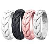 Zollen 4 Packs Olive Leaves Silicone Wedding Rings for Women, Rubber Wedding Bands Stackable Ring, Hypoallergenic Silicone, Size 6