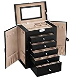 SONGMICS Jewelry Box, 6-Tier Large Jewelry Case with Drawers, Mirror and Lock, Storage Organizer for Bracelets Earrings Rings Necklaces Watches, Gift, Black UJBC152B01
