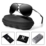 mxnx Aviator Sunglasses for Men Polarized Women UV Protection Lightweight Driving Fishing Sports Mens Sunglasses MX208-(Gun/Black Lens)