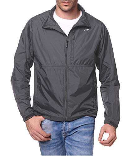 Trailside Supply Co. Men's Water-Resistant Nylon Windbreaker Front-Zip up Jacket,Navy+Dark Navy,L
