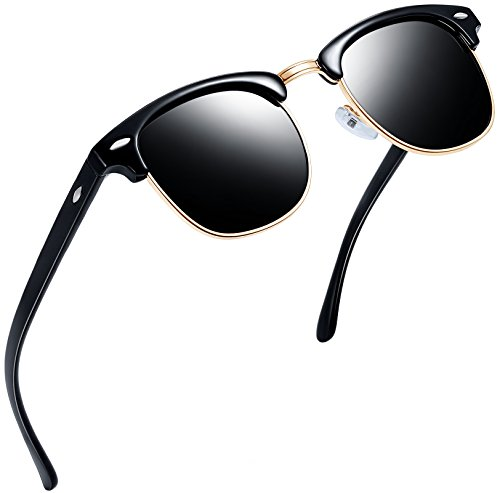 Joopin Semi Rimless Polarized Sunglasses Women Men Retro Brand Sun Glasses (Brilliant Black Frame, Simple packaging)