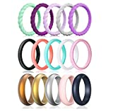Silicone Rings Women,15 Pack Thin and Stackable Braided Rubber Wedding Ring Band for Women, Her, Couple, Souvenir and Outdoor Active Exercise Style (6.5-7(17.3mm), 15 Colors Sets)