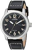 Citizen Eco-Drive Garrison Quartz Mens Watch, Stainless Steel with Leather strap, Field watch, Black (Model: BM8471-01E)