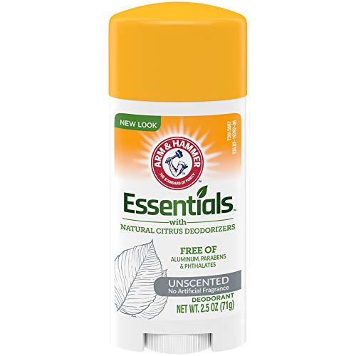 ARM & HAMMER Essentials Deodorant with Natural Deodorizers, Unscented, 2.5 oz.