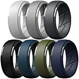 ThunderFit Silicone Wedding Ring for Men, Breathable with Air Flow Grooves - 10mm Wide - 2.5mm Thick (Light Grey, Dark Grey, Navy Blue, Grey, Olive Green, Dark Blue, Black - Size 10.5-11(20.6mm))