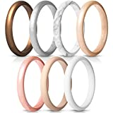 ThunderFit Women's Thin and Stackable Silicone Rings Wedding Bands - 7 Pack (Bronze, White, Rose Gold, Silver, Light Pink, Marble, Light Rose Gold, 5.5-6 (16.5mm))