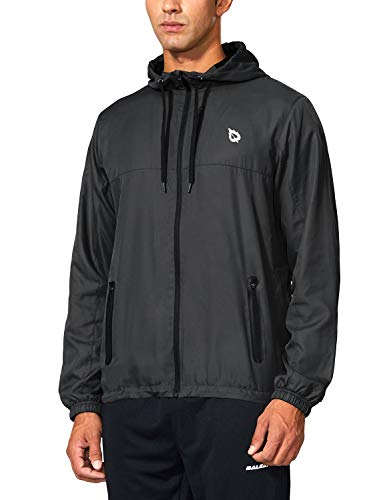 BALEAF Men's Sports Windbreaker Running Track Workout Jackets Lightweight Water Resistant Jackets Zip Pockets Black Size L