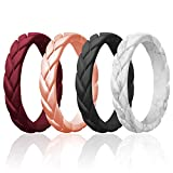 ROQ Silicone Rings for Women Multipack of 4 Womens Silicone Rubber Wedding Rings Bands Flame Leaves - Bordeaux, Rose Gold, Marble, Black Colors - Size 6