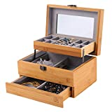NXHOME Bamboo Jewelry Box and Jewelry Organizer Watch Storage Jewelry Organizer Mirrored Storage Display Case Gift for Mom (A2(3-Layers Jewelry Box Organizer)