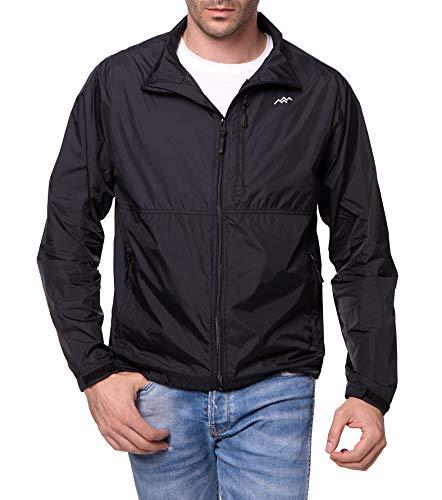 TRAILSIDE SUPPLY CO. Mens Lightweight Jacket Nylon Windbreaker Jackets with Zipper Pocket Navy+Dark Navy,L